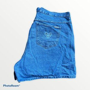 Vintage High Rise Mom  Jean Shorts w/Hearts